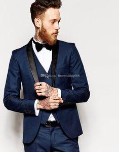 Azul marinho smoking noivo do casamento dos homens ternos dos homens ternos de casamento smoking trajes de fumar pour hommes homens (Jacket + Pants + Tie + Vest) 008