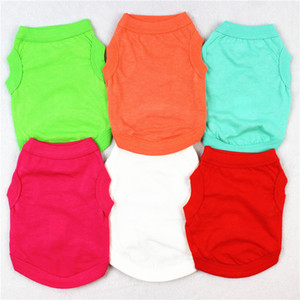 Pet T Shirts Summer Solid Dog Clothes Fashion Top Shirts Vest Cotton Clothes Dog Puppy Small Dog Clothes Cheap Pet Apparel wcw401