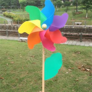 Семь цветов Пластиковые Ветряная 32см деревянный столб Ветряные мельницы на открытом воздухе Детские игрушки Детский сад Главная партия Украсьте 3 4HB H1