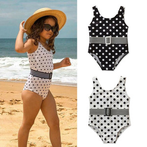 Summer One-piece Swimsuits For Girls Toddler Kids Baby Polka Dot Swimwear Children Summer Holiday Swimming Beach Clothes Bikini