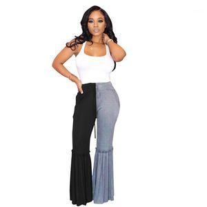 Waist Elastic Waist Pants Summer Fashion Loose Flare Pants Casual Patchwork Famale Designer Pants Womens High