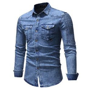 Mens jeans lavados shirt Moda Mens solto Tees Casual Designer Tops Masculino manga comprida