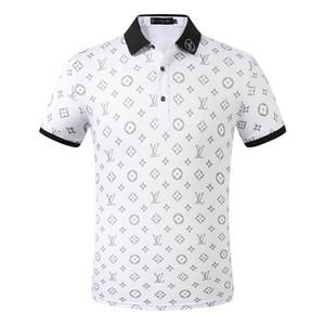 19SS años de diseño de moda italiana luxuryt nuevo clásico de los hombres camisa de polo de manga corta de los hombres de letras de bordado camisa de polo M-3XL
