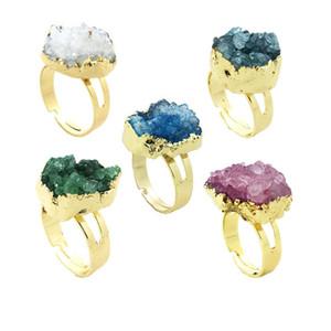 Anillos de cristal Druzy Cluster de colores mezclados - Druzy de oro Piedras preciosas crudas Brillo natural Brillo Irregular Anillos ajustables Cuarzo piedra