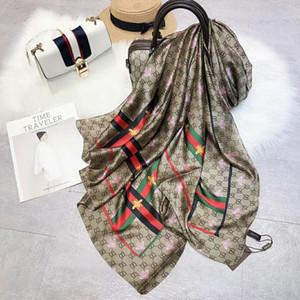 2020 Top Qualität 180 * 90cm Biene Seidenschal, Schal europäische Marke Französisch-Designer Blumen-Design gedruckt weibliche Geschenke Seide