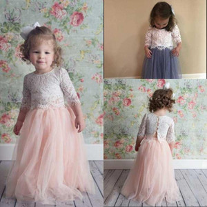 Blush Pink Two Pieces Lace Flower Girl Dresses for Wedding Child Pageant Dress Jewel Neck Tulle Princess Kids Little Girls Junior Bridesmaid