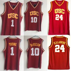 USC 트로이 목마 # 10 데마 데로 잔 농구 셔츠 남성 1 닉 영 대학 유니폼 스티치 24 브라이언 스칼라 브라인 대학 유니폼
