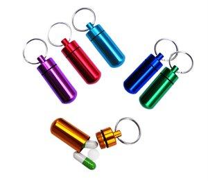 Aleación de aluminio Botellas de píldora portátiles Titular de la píldora Llavero envase de pastillas impermeable Fundas Cajas para viajes acampar al aire libre