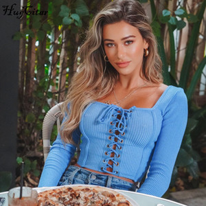 Hugcitar 2020 long sleeve bandage sexy crop tops spring women new fashion streetwear outfits T-shirts