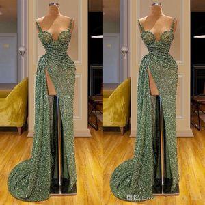 2020 Glitter Grün Pailletten Meerjungfrau Abendkleider Sexy African Starcocktailparty-Kleid Türkisch Islamische Front Split Abendkleider