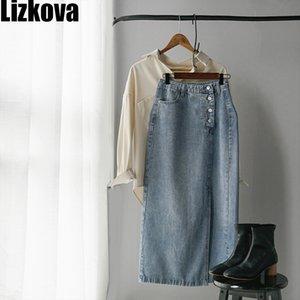 Lizkova Jupe en denim bleu Femmes jupe taille haute fendus 2020 ressort unique boutonnage dames élégantes Jupe Casual