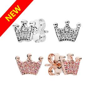 Pandora için lüks tasarım 18K Rose gold Stud Küpe Taç Orijinal kutu setleri ile 925 Gümüş Kadınlar Düğün Takı Küpe