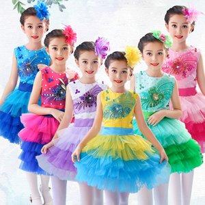 Dancewear infantil Crazy Chicken Costume Infantil traje animal roupas de dança de pato amarelo pássaro Cosplay vestido de dança vestido de balé