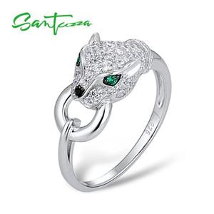 Santuzza Silver Panther Anillo Para Las Mujeres Genuino 925 Anillo de Plata Creativa Anillo de Circonio Cúbico Partido Joyería de Moda J190627