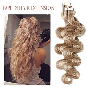 Tape in Hair Extensions Remy Human Hair Seamless Skin Weft Straight Hair 50g Pack 14 Inch to 24 Inch