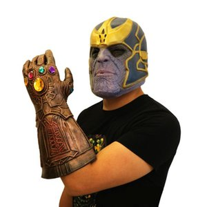 Avengers 4 Endgame Thanos mask and gloves 2019 New Children's adult Halloween cosplay Natural latex Infinity Gauntlet Toys