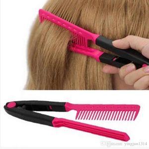 Moda V tipo plancha de pelo peine DIY Salon peluquería herramienta de peinado rizos cepillo peines envío gratis