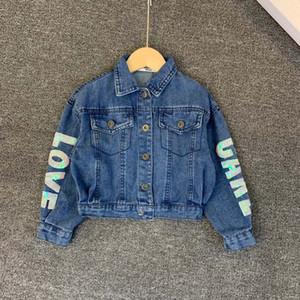 Menina do outono jaqueta crianças designer de roupas e moda inverno nova lavagem borla denim jaqueta jeans de algodão sonho material de design do unicórnio
