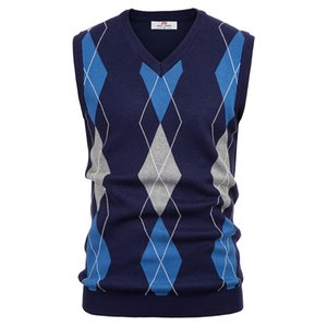 business work office Men sweater tops spring fall Stylish Sleeveless Sweater Diamond Check V-Neck Knitted Vest warm knitwear