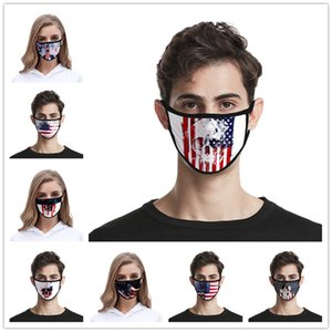 Amerikan Bayrağı Maske Amerikan Bağımsızlık Günü toz geçirmez Moda Baskı Buz İpek Kumaş Yıkanabilir Ağız Maskesi