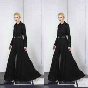 Tony Ward 2019 Combinaisons Arabe Robes De Soirée Pantalon Noir Taille Plus En Mousseline De Soie Robe De Bal Perles Manches Longues Robe De Fête Formelle