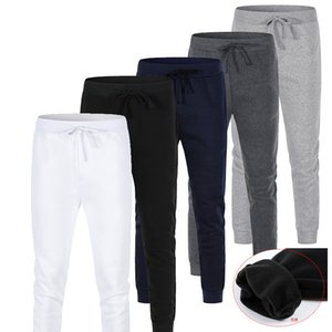5Color Autumn Winter Mens Pants Fleece Slim Sport Warmth Heavyweight Mens Designer Sweatpants Middle Waist Leggings