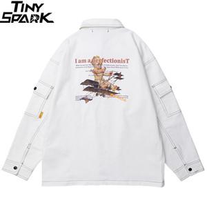 Erkek Ceketler 2021 Erkek Hip Hop Kargo Ceket Streetwear Harajuku Retro Rüzgarlık Çocuk Uçak Baskı Beyaz Ceket Sonbahar Sokak Giyim