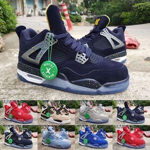 Высокое Качество Jumpman 4 Флорида Gators PE UNC Порошок Синий Замши Баскетбол Обувь Мужчины 4S Gators PE Синий Оранжевый UNC Спортивные Кроссовки 5 Ice Blue