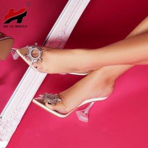 NAN JIU MOUNTAIN Summer Women's High Heels Rhinestone High Heel Sandals Pointy Fashion Plus Size Women's Shoes Fashion Sandals c13