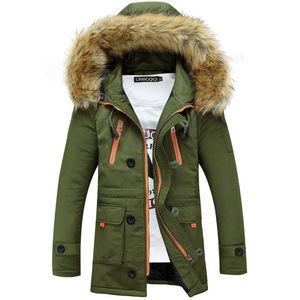 Parkas hommes Veste Épaississement d'hiver manteaux pour hommes Homme Manteaux de fourrure Casual Col long Coton Wadded hommes manteau à capuchon