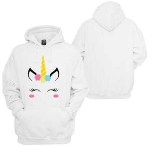 2019 Spirng New Fashion Hoodie Women New Unicorn Pattern Print Hooded Loose Long Sleeve White Sweatshirt Size S-XL wholesale