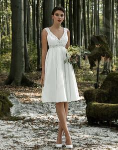 vestidos de novia Lace Appliques Pearls beading Short Wedding Dresses Lace Up Back Cheap chiffon Wedding Gowns robe de mariee