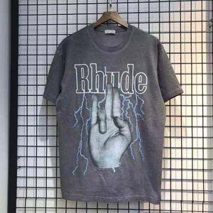 Summer Style Rhude T-shirts à manches courtes doigts Faded T-shirt Homme HipHop 100% coton délavé Designer surdimensionné Off Noir Mens