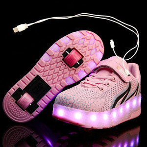 Children One Two Wheels Luminous Glowing Sneakers Red Pink Led Light Roller Skate Shoes Kids Led Shoes Boys Girls USB Charging