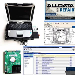 Riparazione nuova auto soft-ware tutti i dati del mitchell 2015+ alldata v10.53 2in1 auto portatile diagnostico soft-ware in CF19 Toughbook
