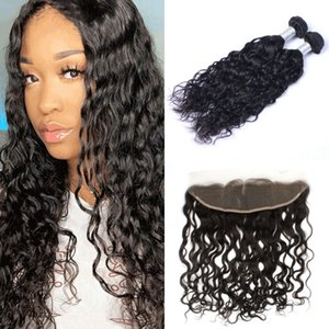 13x4 Lace Frontal Closure with Bundles Brazilian Human Hair Weaves Water Wave 2 Bundles with Frontal
