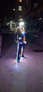 RGB Led Luminous Dance Suit Led Light Up Сценическое представление Вечеринка Одежда Led Бальный костюм
