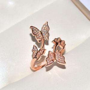 Mode Retro Schmetterling Ringe für Frauen Silber Rose Gold Farbe Hochzeit Verlobungsring eingelegten Zirkon Partei Schmuck Anillos Mujer