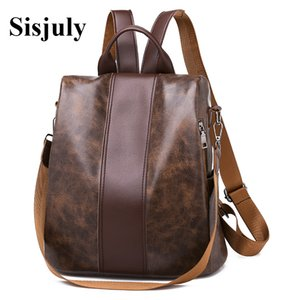 Sisjuly  Women Retro Leather Backpacks Female Multifuction Backpack Fashion School Bags for Girls Big Capacity Bookbag Sac