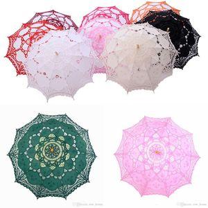 Paraguas de encaje de novia de encaje de la vendimia manual de apertura de boda Paraguas bordado hecho a mano elegante del cordón de boda del parasol del paraguas de Bridemaid