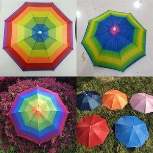 Diamètre 53cm Ombrage extérieur de chapeau de parapluie empêchant le rayonnement ultraviolet Parasols de soleil Chapeaux de pêche de parasol avec de diverses couleurs 3 8qz J1