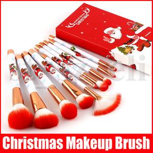10pcs Presente de Natal / set de Santa Brushes Handle maquiagem Extremamente maquiagem suave jogo de escova Foundation Pó Escova Kit com caixa