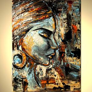 A mano di buona qualità astratta moderna del fronte della donna della tela di canapa della pittura del ritratto di arte della parete Immagine di Soggiorno Camera da letto decorazione delle pareti