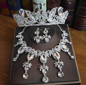 L'ultima nozze gioielli da sposa migliore vendita di fascia alta set Corona orecchini collana in tre pezzi gioielli cena della festa di compleanno di trasporto