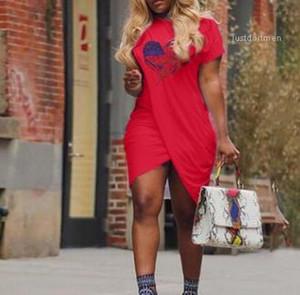 Tasarımcı Elbise Çapraz Casual Artı boyutu 5XL Kısa Sleeve Katı Renk Elbise Yaz Kadın AŞK
