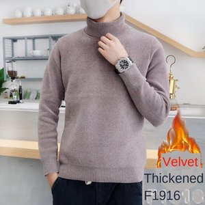 mens designerWinter turtleneck fashion snow nylon integrated mink velvet knitted sweater men