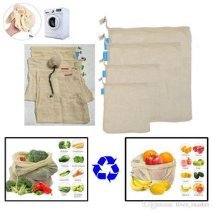 3pcs Set Reusable Cotton Mesh Grocery Shopping Produce Bags Vegetable Fruit Fresh Bags Hand Totes Home Storage Pouch Drawstring Bag AN2326