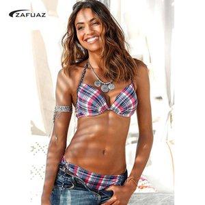 ZAFUAZ 2020 nuevo de las mujeres cabestro bikini empuja hacia arriba el conjunto de la vendimia de los lunares del traje de baño de dos piezas traje de baño traje de baño femenino Tamaño Plus XXL Y200319