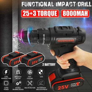 YAOSHUANG 25V 3 8 Cordless Rechargeable Electric Drill Impact Hammer Screwdriver Power Battery Drill with Bit 2 Battery