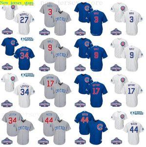 2016 World Series Champions patch Youth men women cubs 9 Javier Baez 17 Bryant 44 Rizzo 3 David Ross kids baseball jersey 100% Stitched